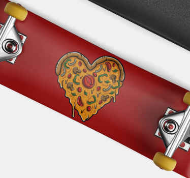 Pizza skateboard sticker which features an image of a pizza in the shape of a heart. Available in various sizes. High quality.