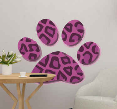 Vinilo de gatos con pata de gato en estampado animal. Presenta una pata de gato con estampado de leopardo lila ¡Envío exprés!