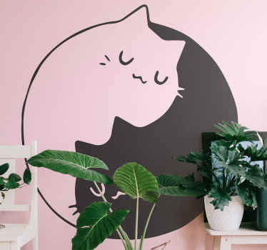 Wall sticker with Ying Yang cats. This decorative item presents a black and a white cats lying in shape of a Ying Yang. Made of high quality vinyl.
