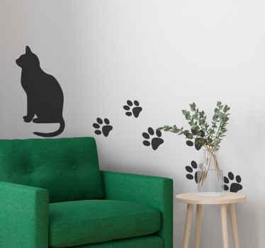 猫とそのトラックのウォールステッカー。この装飾は猫とその後ろの足を表しています。あなたはそれをどんな色でもパーソナライズすることができます。
