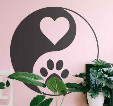 Yin yang print paw and heart dog sticker. Yin yang design with heart and paw. Customisable colour. Get it with immediate shipping.