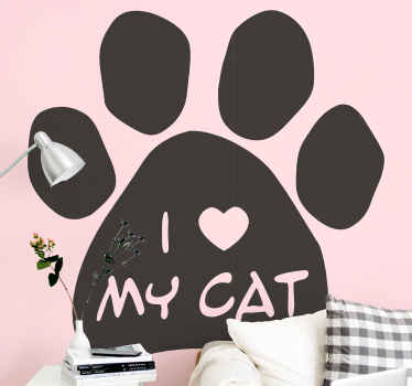 """Wall sticker I love my cat. The pattern shows a cat paw and a text """"I love my cat"""" on it. You can choose any colour available."""