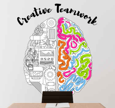 Wall sticker with two sided brain. This decoration presents two sides of a brain: one responding to logical and the other-to artistic abilities.