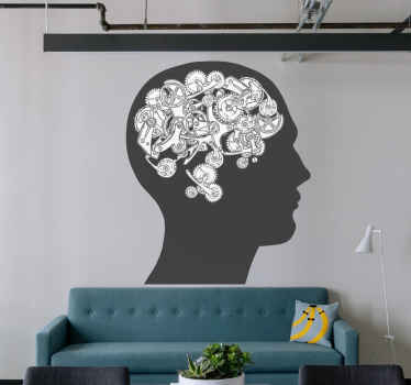 Brain science mechanic decals. Grey shape of a human head and a mechanical representation of the brain made out of cogs. Get it for your office!
