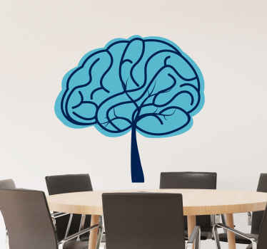 Brain-shaped sticker for walls. Blue design that harmonizes the images of a brain and a tree into one. Get immediate shipping.