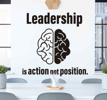 If you think leading people is a hard task, then why not buy this leadership brain wallsticker today? If you order it now you can even get it soon!