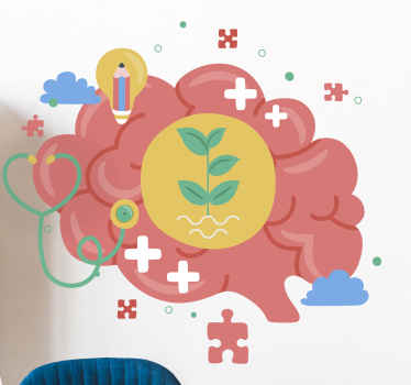 Brain wall sticker which features an image of a brain with various jigsaw pieces surrounding it and a plant growing inside of it.