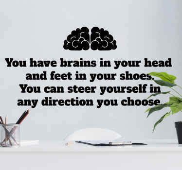 Brain wall sticker which features a famous quote from Dr. Seuss. Zero residue upon removal. High quality materials used.