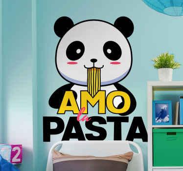 Panda ama comer pasta adhesiva para paredes. Este diseño de panda hembra te permite saber que le encanta comer pasta con la leyenda debajo del animal.