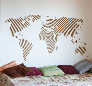 This world map decal has a creative circular line design that makes it different from any other world map wall sticker. The circular line decal comes in different sizes and in up to 50 colours.