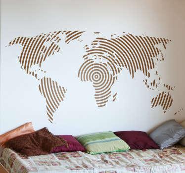 円形の線の世界地図ステッカー