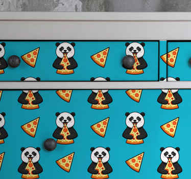 Furniture sticker which features a cute pattern of  pandas eating slices of pizza with lots of other pizza slices around them.