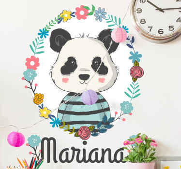 Add a fun presence in the kid's place with this Personalised Wall Sticker of aPanda ! It is customizable with name. Choose your size.