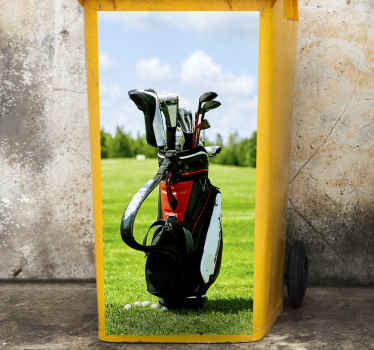 Golf bag sticker for containers. A golf bag with four golf sticks inside of it. A golf field serves as a background. Get it with immediate shipping!