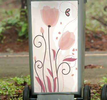 Pink flower sticker with butterflies for outdoor containers. Two tulips opening in front of a flying butterfly. Pink leafs. Discounts available.