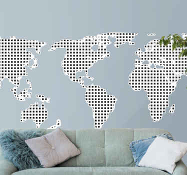 An outstanding world map wall sticker comprised of multiple modern square shapes! Zero residue upon removal of this product.