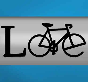 愛の自転車自転車ステッカー-フレームに素敵な装飾デカールを貼って自転車に乗るのを楽しんでください。このデザインは、自転車の形をした愛のテキストを示しています。