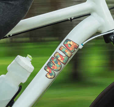 A lovely way to decorate your bicycle and give it an unique touch with your own name on it with this colorful round shapes with name sticker.