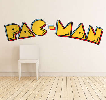 A fun logo wall sticker representing the PAC-MAN emblem from the famous videogame from the 80s. Great text decal for those fans out there!