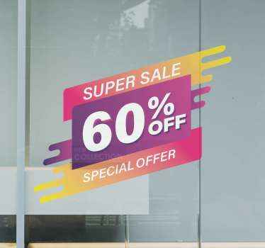 Sale window sticker which features the text 'Super Sale, % off, Special Offer' in beautiful shades of purple, orange, yellow and pink.