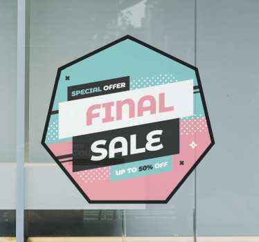 Sale window sticker which features the text 'Special Offer. Final Sale. Up to % off' in wonderful pastel shades of pink, white, black and blue.