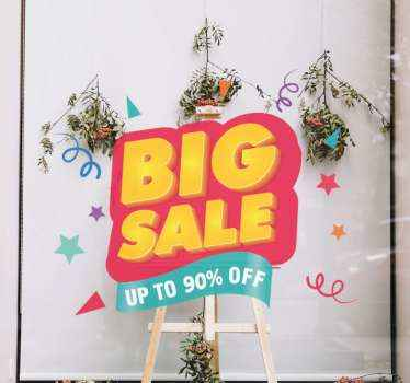 Sale window sticker which features the text 'Big Sale, Up to % off' with lots of confetti surrounding it. Zero residue upon removal.