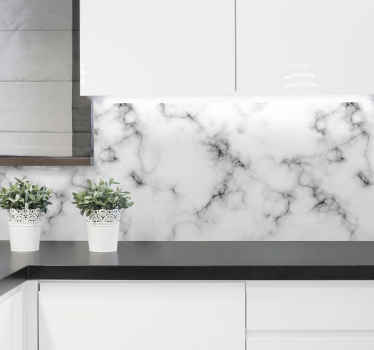 White marble wall sticker. This decorative item will make your kitchen look stunning. Made of high quality vinyl material.