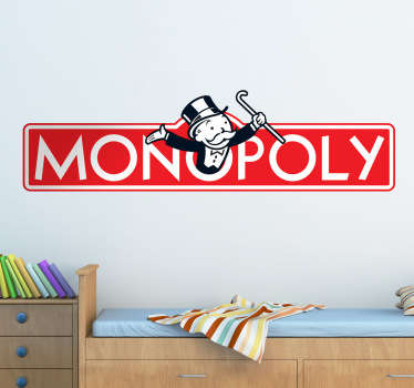 Decorate your home with this fantastic Monopoly themed wall sticker! Easy to apply and remove. Extremely long-lasting material.