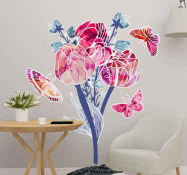 Vinilo flores y mariposas. El patrón muestra diferentes flores y tres mariposas volando a su alrededor ¡Hecho de material de alta calidad!