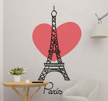 "A Eiffel Tower pattern sticker with a red heart behind it and the text ""Paris"" for all the Paris lovers that want to bring the Eiffel Tower home."