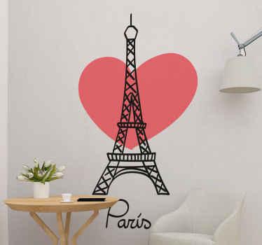 """Arkasında kırmızı bir kalp bulunan eyfel kulesi desenli bir çıkartma ve eyfel kulesini eve getirmek isteyen tüm paris severler için """"paris"""" metni."""