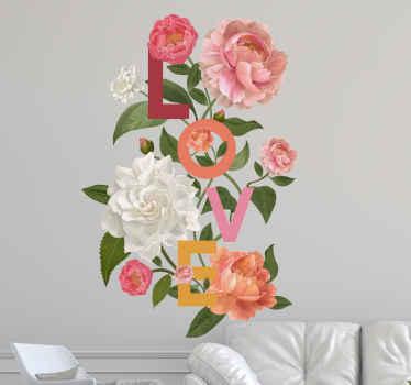 Precioso vinilo de flores de peonía ilustrado con texto de amor. Se adapta para decorar cualquier lugar de una casa ¡Envío exprés a domicilio!