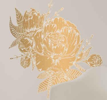 Ilustração do vinil autocolante decorativo de parede com flor de peônia dourada - perfeita para decorar qualquer espaço em uma casa, seja para um quarto, sala de estar e outros espaços.