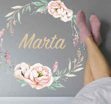 花輪スタイルで名前をカスタマイズした牡丹の花の壁アートステッカーを使用して、素敵なタッチであなたの家や空間を飾りましょう。