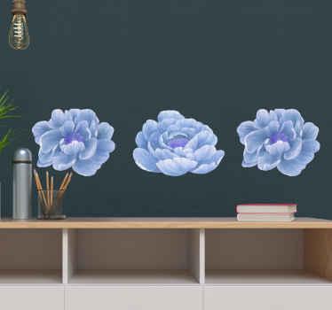Increíbles vinilos de flores con 3 peonías azules para que decores cualquier estancia de tu hogar. Elige tus medidas ¡Envío exprés!