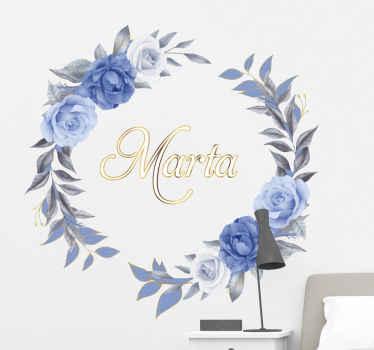 Vinilo de flores de peonía redonda con nombre personalizado. Se puede decorar en cualquier habitación de tu casa. Elige las medidas ¡Envío exprés!