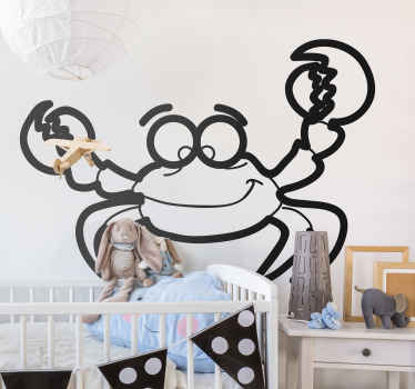 Kids Wall Stickers-Fun and playful illustration of a crab. Cheerful design ideal for decorating areas for children.