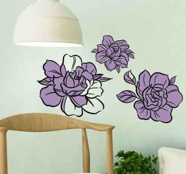 Vinilo de flores dibujadas con varias peonías violetas, perfecto para decorar tu salón, tu oficina, tu dormitorio ¡Envío exprés!