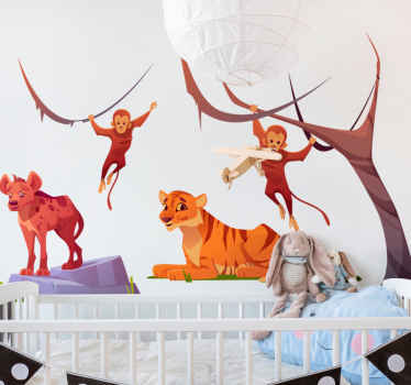 Animal wall sticker which features an image of a tiger, hyena and 2 monkeys surrounded by trees. Choose your size. Custom made.