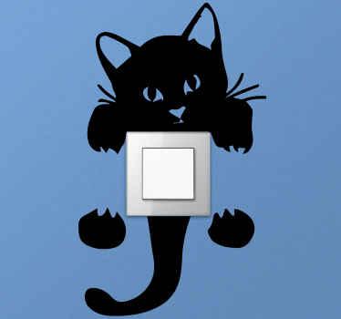Nálepka vypínača, ktorá obsahuje obrázok mačky, ktorú je možné prilepiť okolo vypínača. +10 000 spokojných zákazníkov.