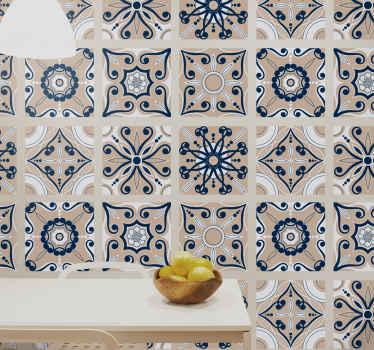 наклейка для плитки с различными винтажными узорами, окрашенными в коричневый и синий цвета в форме плитки. подпишитесь со скидкой 10%.
