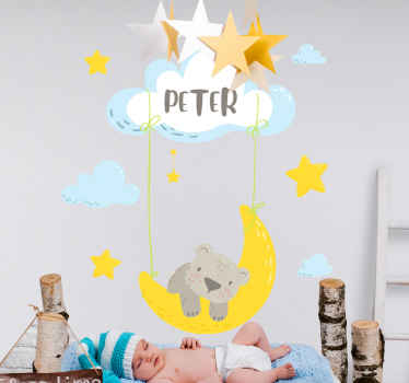 Kids sticker which features an image of a cute sleeping bear on the moon surrounded by clouds and stars. Available in 50 colours.