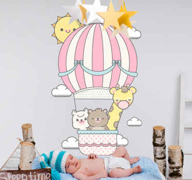 Kids sticker which features an image of a giraffe, bear and cat in a hot air-balloon surrounded by clouds and a smiling sun.