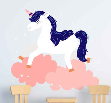 Unicorn wall sticker which features a stunning image of a white unicorn with blue hair on pink clouds. Zero residue upon removal.