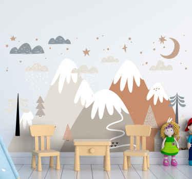 Vinilo para niños con dibujo de montañas escandinavas con nieve, rodeadas de nubes, estrellas, en colores super tiernos para la habitación de tu bebé.