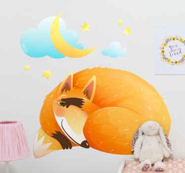 adhesif original avec le dessin d'un renard endormi et rêvant dans les étoiles, entouré de nuages et de la lune. Inscrivez-vous pour 10% de réduction.