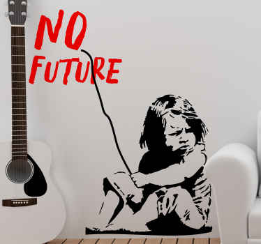 Decorative wall art decal of a little girl on the street with no care.  An artwork of Banksy and a decal for  lovers of Banksy street art work.