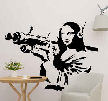 A wall art decal from Banksy art work. The design illustrates Mona Lisa carrying a Bazooka aiming to fire. Available in any size required.