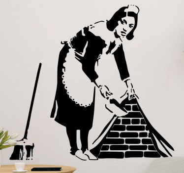 Bansky cleaning lady sticker with broom. Product of a woman cleaning the house with a broom and spatula. Art style decoration for your home!