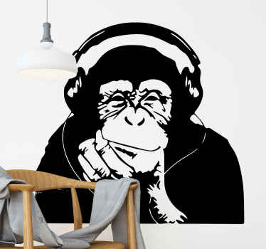 Monkey art decal with headphones. Banksy styled monkey with headphones. Black design of thinking monkey. Get in any wall of your house!